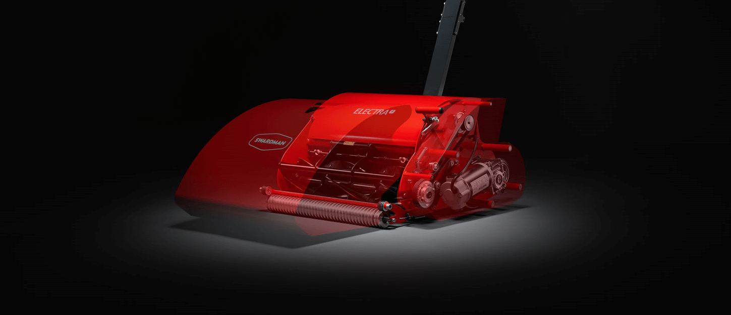 Swardman Electra reel mower on a black background